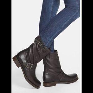 """Frye """"Veronica"""" Short Moto Boot in Black"""